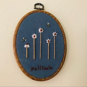 Handmade Bee and Flower Pollinate Embroidery